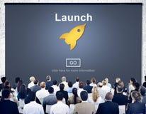La marca del comienzo del lanzamiento presenta a Rocket Ship Concept Fotografía de archivo libre de regalías