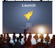 La marca del comienzo del lanzamiento presenta a Rocket Ship Concept Imagen de archivo libre de regalías