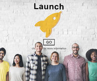 La marca del comienzo del lanzamiento presenta a Rocket Ship Concept Imagenes de archivo