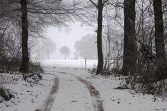La marche bien habillée par un paysage d'hiver est une expérience merveilleuse photos stock