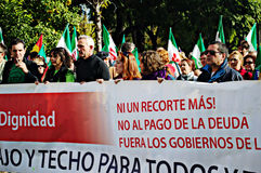 La marche de dignité une protestation 24 - syndicaliste Cañamero Images stock