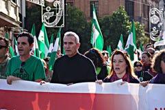 La marche de dignité une protestation 40 - syndicaliste Cañamero Photos stock
