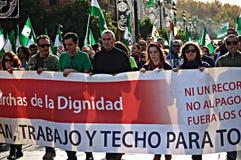 La marche de dignité une protestation 41 - syndicaliste Cañamero Photos stock