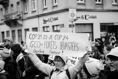 La Marche versa la dimostrazione di protesta del marzo di Le Climat su stre francese fotografia stock