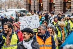 La Marche versa la dimostrazione di protesta del marzo di Le Climat su stre francese immagini stock libere da diritti