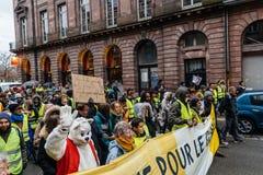 La Marche versa la dimostrazione di protesta del marzo di Le Climat su stre francese immagine stock libera da diritti