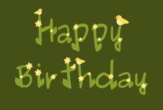 La margarita del feliz cumpleaños florece la carta verde Imagen de archivo