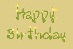 La margherita di buon compleanno fiorisce la carta beige Fotografia Stock Libera da Diritti