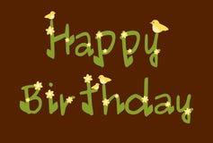 La margherita di buon compleanno fiorisce la carta marrone Immagini Stock Libere da Diritti
