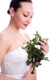 La mariée avec s'est levée photographie stock libre de droits