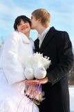 La mariée et le marié retiennent des paires de colombes blanches Images stock