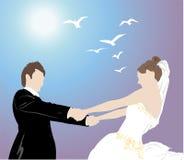La mariée retient le fiancé Images stock
