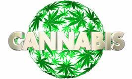 La marijuana del cáñamo sale de palabra del pote de la esfera Stock de ilustración