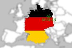 La marijuana lagalized en Berlín, Alemania en el fondo de Europa y la hoja de THC ilustración del vector