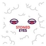 La marijuana a lapidé des yeux sur l'illustration de vecteur de fond de nuages de fumée Photographie stock
