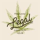 La marijuana legal, cáñamo de la mala hierba pone verde el logotipo retro de la hoja, diseño de la camiseta Etiqueta Indica Cuadr Imagenes de archivo