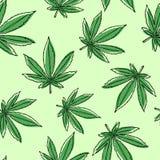 La marijuana part du modèle sans couture Fond de cannabis illustration stock
