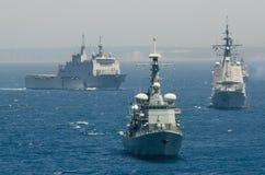 La marina de guerra española conduce ejercicios navales fotos de archivo