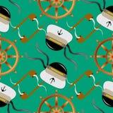La marina senza cuciture del modello con il volante del tubo di tabacco, l'ancora ed il cappello di capitano su fondo blu vector  Fotografie Stock Libere da Diritti