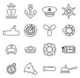 La marine ou les militaires ou les icônes d'armée amincissent la ligne ensemble d'illustration de vecteur Photo stock