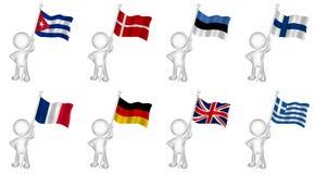 La marioneta que sostenía banderas fijó 1 Imagen de archivo libre de regalías