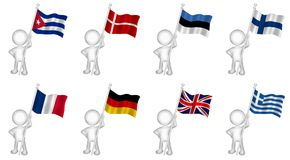 La marionnette tenant des drapeaux a placé 1 Image libre de droits