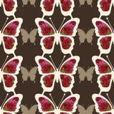 La mariposa abstracta con los ornamentos de rosas florece el modelo inconsútil Foto de archivo libre de regalías