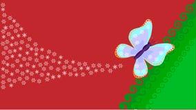 La mariposa del ` s del Año Nuevo vuela en un fondo rojo con los copos de nieve Imagenes de archivo