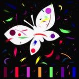 La mariposa es un símbolo de la facilidad de la inspiración en ideas de la creatividad y del día de fiesta stock de ilustración