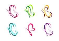 La mariposa, logotipo, corazón, belleza, balneario, se relaja, ama, las alas, yoga, forma de vida, mariposas abstractas fijadas d ilustración del vector