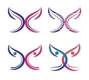 La mariposa, logotipo, corazón, belleza, se relaja, ama, las alas, yoga, forma de vida, las mariposas abstractas fijó vector del  libre illustration