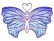 La mariposa a mano del garabato con la acuarela azul se va volando para su Imagen de archivo