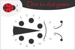 La mariquita en estilo de la historieta, puntea para puntear el juego, página que colorea, juego de números de la educación para  stock de ilustración
