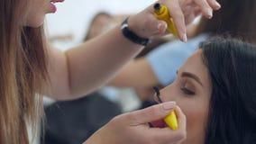 La mascara professionale, truccatore dipinge i cigli della giovane donna nel salone di bellezza video d archivio