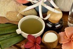 La mascarilla con el asiaticum de Crinum, hojas del verde se gelifica y la hierba tailandesa tiene medicina de la propiedad Imágenes de archivo libres de regalías