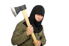 La maschera d'uso criminale isolata su bianco fotografie stock
