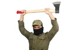 La maschera d'uso criminale isolata su bianco fotografia stock libera da diritti