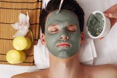 La maschera di argilla blu Fotografia Stock