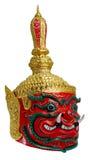 La maschera gigante rossa del khon tailandese ha chiamato Thao wastsuwan, adloussopy capo del gigante del gigante Ravana, il guar fotografia stock