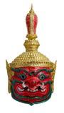 La maschera gigante rossa del khon tailandese ha chiamato Thao wastsuwan, adloussopy capo del gigante del gigante Ravana, il guar immagini stock
