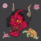 La maschera rossa di Oni con Sakura e la peonia fioriscono Immagine Stock