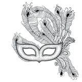 La maschera veneziana punteggiata Colombina di carnevale con il pavone del profilo mette le piume a nel nero su fondo bianco illustrazione di stock