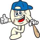 La mascota de la historieta del béisbol manosea con los dedos para arriba stock de ilustración
