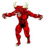 La mascota roja del toro agarra hacia fuera Imagenes de archivo
