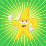 La mascotte della stella sfoglia in su Fotografie Stock