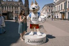 La mascotte ufficiale della coppa del Mondo Zabivaka fotografia stock