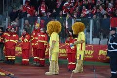 La mascotte ufficiale della squadra di football americano nazionale di Romania Immagini Stock
