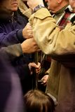 La massa ammucchiata in guida della metropolitana Fotografie Stock