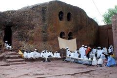 La masse copte de Pâques dans Lalibela Photos stock