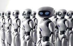 La masse de beaucoup de robots Une foule de cyborg androïde 3d rendent illustration stock